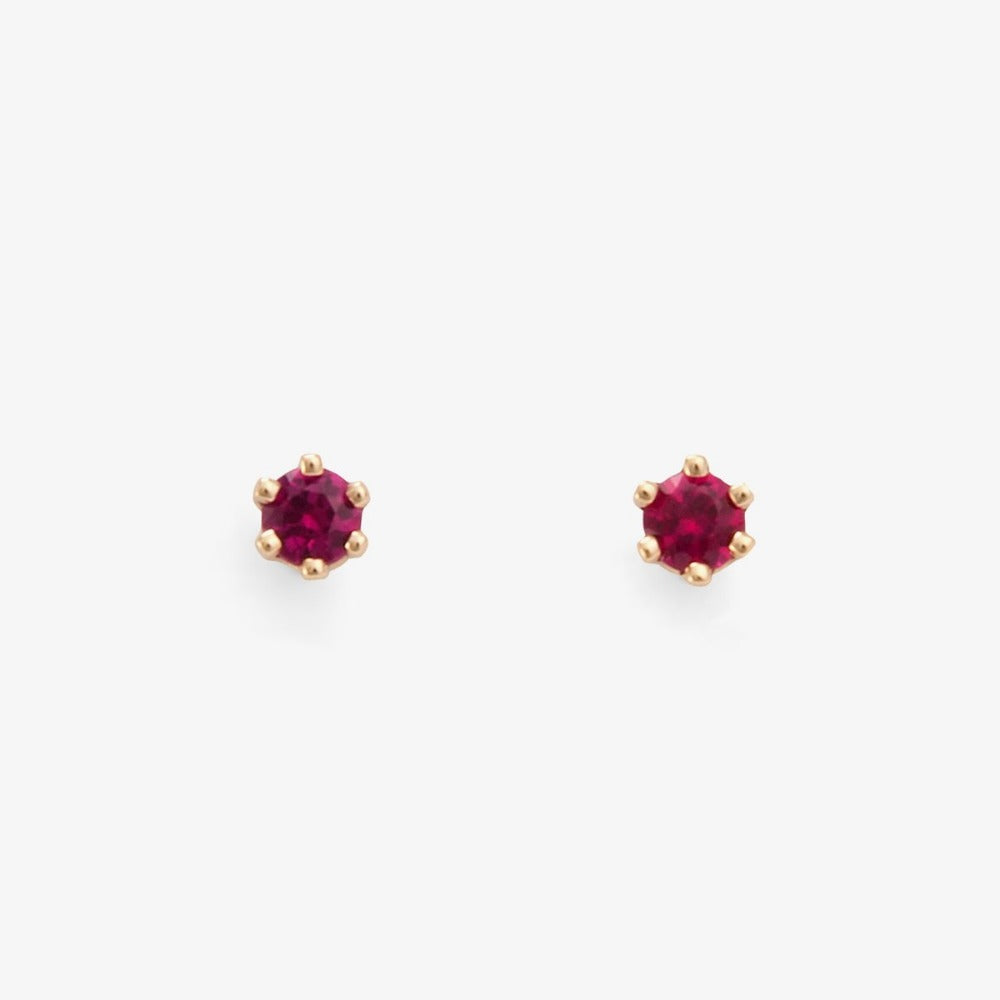 Baby Ruby 6 Prong Studs | Magpie Jewellery