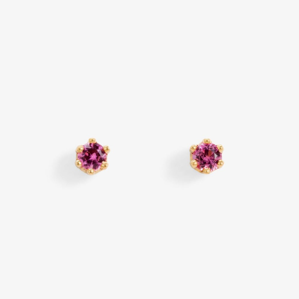 Baby Tourmaline 6 Prong Studs | Magpie Jewellery