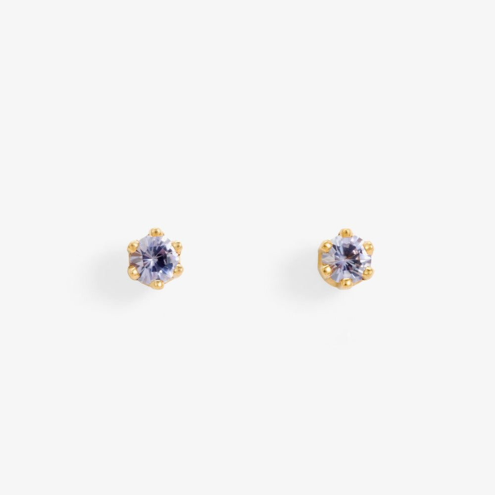 Baby Tanzanite 6 Prong Studs | Magpie Jewellery