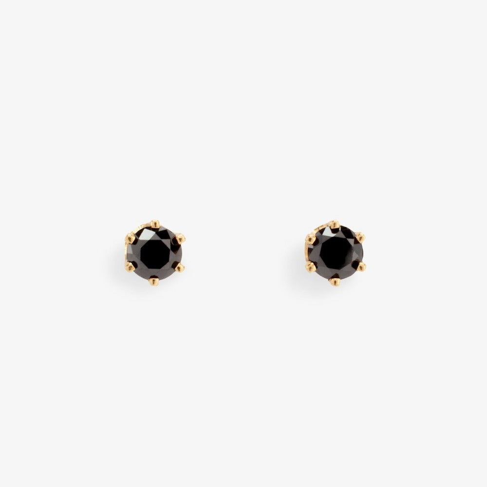 0.2 carat 6 Prong Black Diamond Studs | Magpie Jewellery