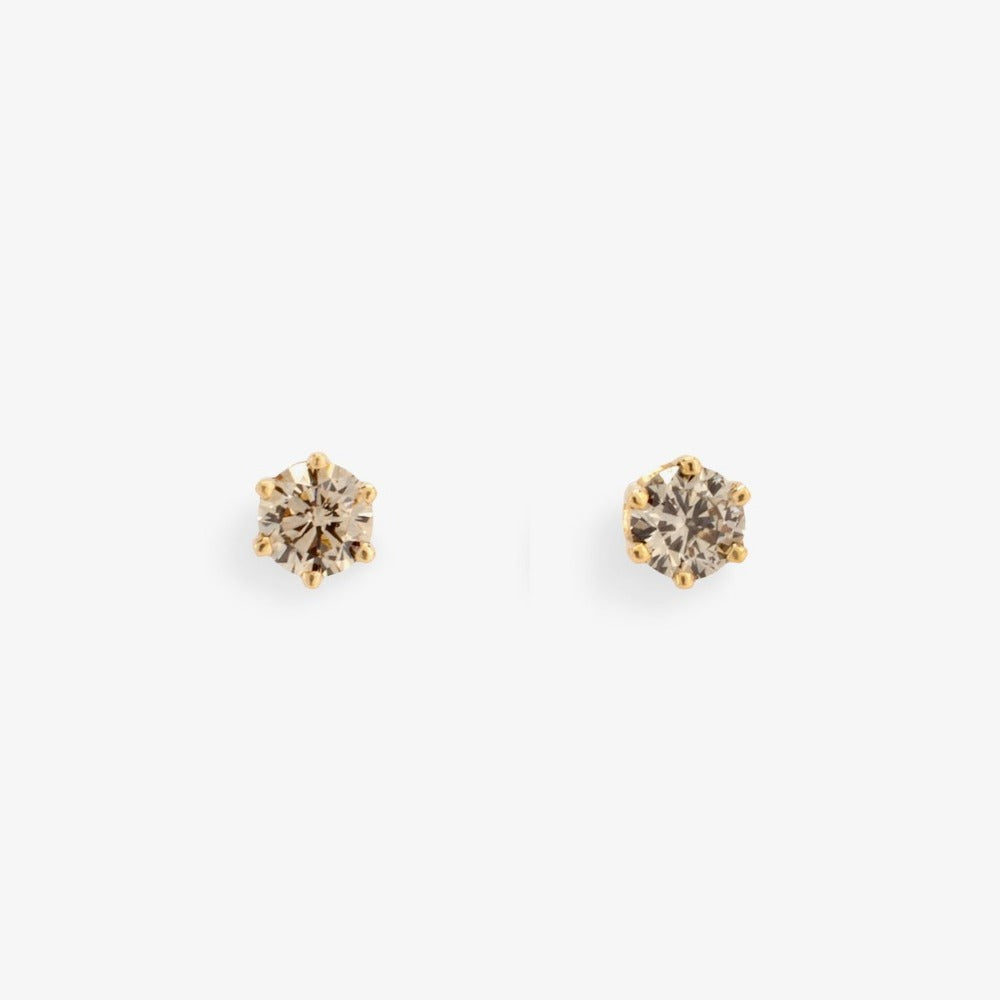 0.2 carat 6 Prong Brown Diamond Studs | Magpie Jewellery