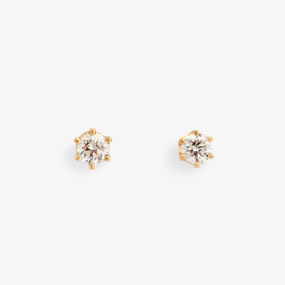 0.2 carat 6 Prong White Diamond Studs | Magpie Jewellery