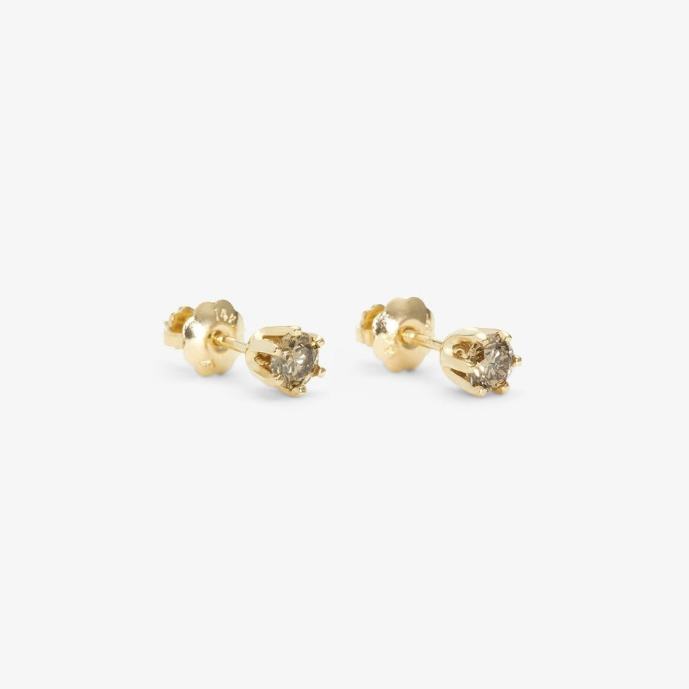 6 Prong Brown Diamond Stud | Magpie Jewellery