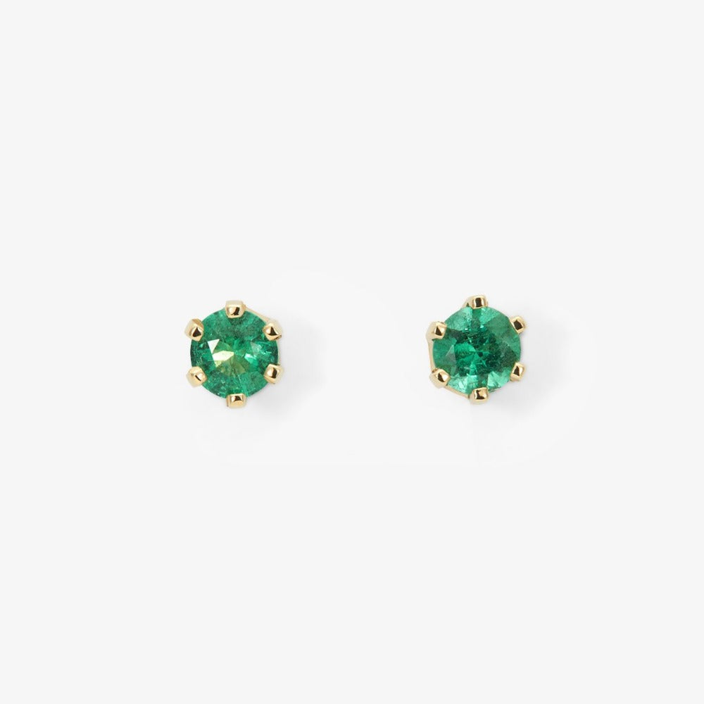 6 Prong Emerald Stud | Magpie Jewellery