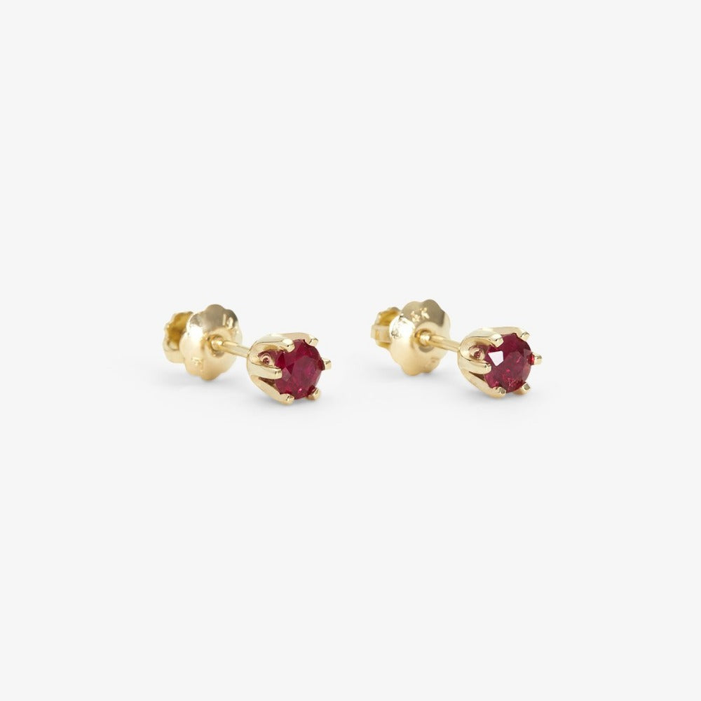 6 Prong Ruby Stud | Magpie Jewellery