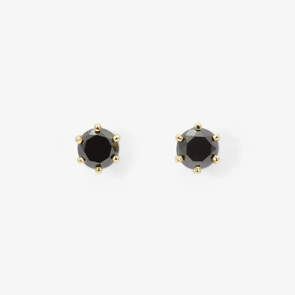 Large 6 Prong Black Diamond Studs | Magpie Jewellery
