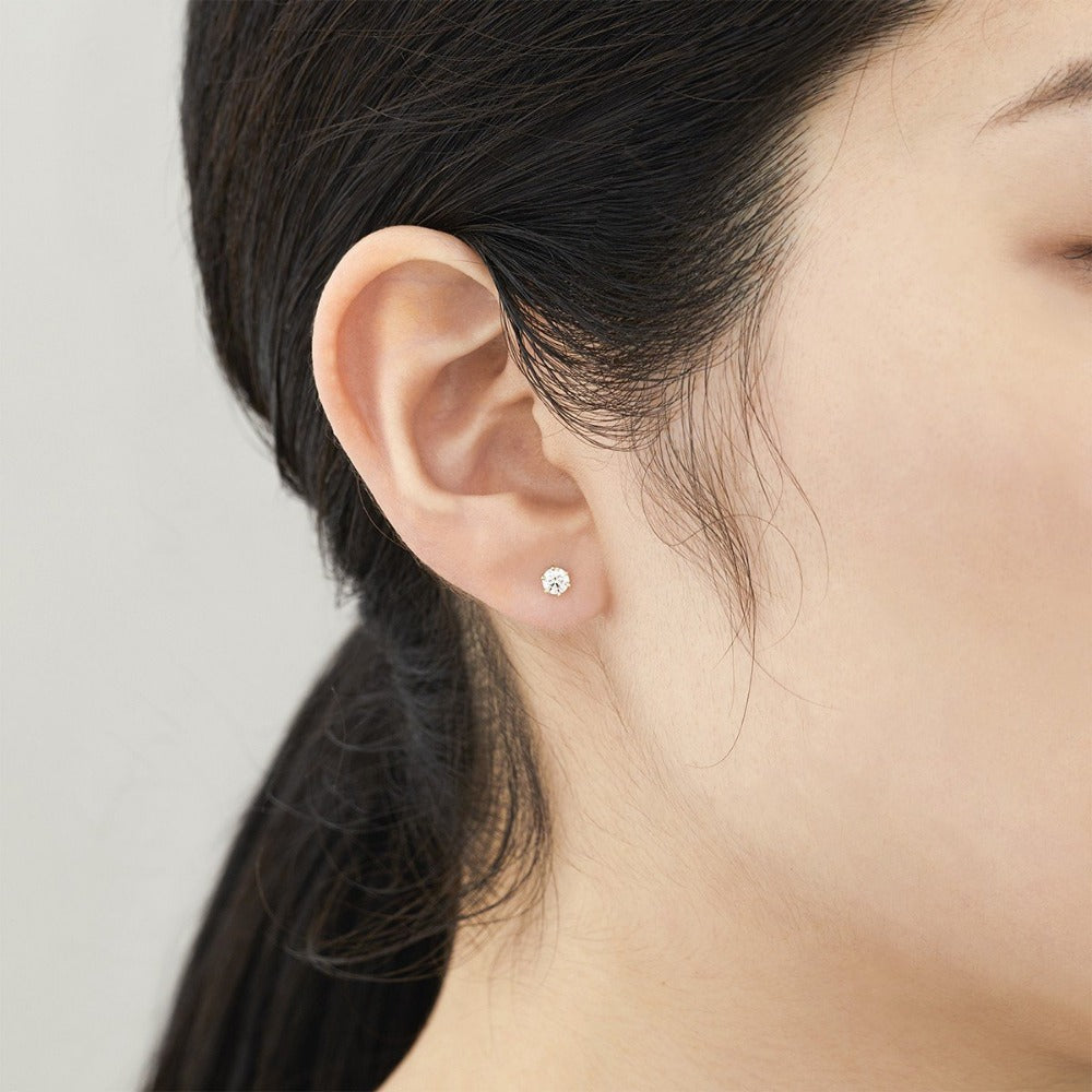 Baby White Diamond 6 Prong Studs | Magpie Jewellery