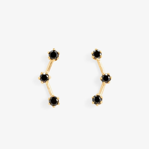 Black Diamond Triple Stone Studs | Magpie Jewellery