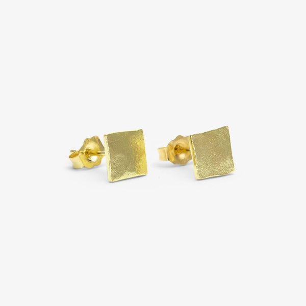 18k Yellow Gold Patch Studs | Magpie Jewellery