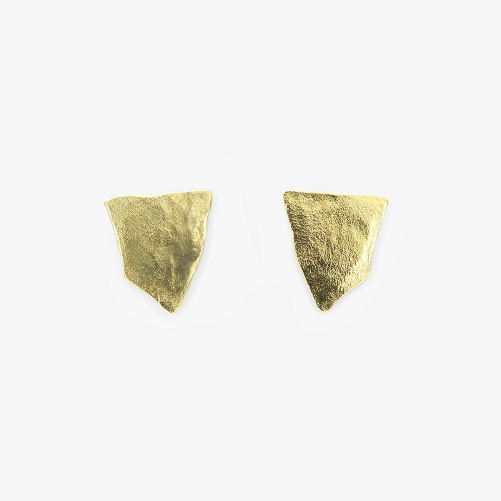 18k Yellow Gold Shield Studs | Magpie Jewellery