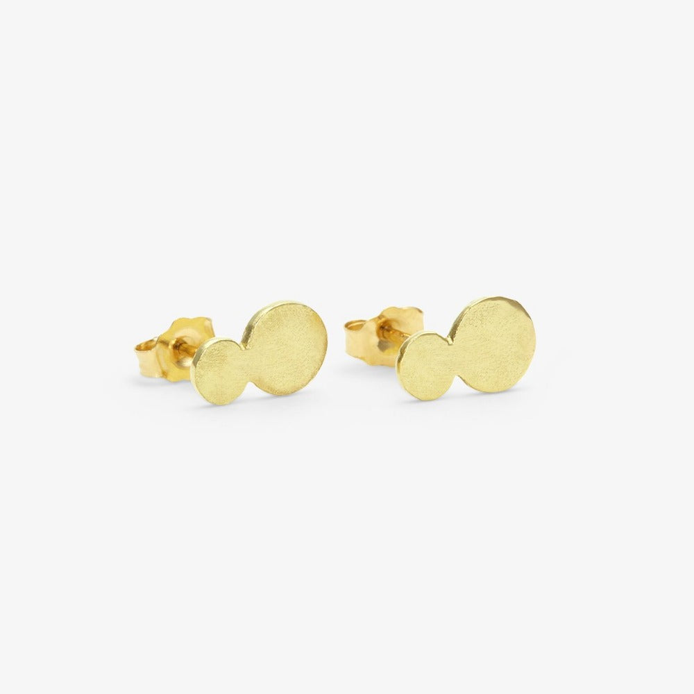 18k Yellow Gold Double Dot Studs | Magpie Jewellery