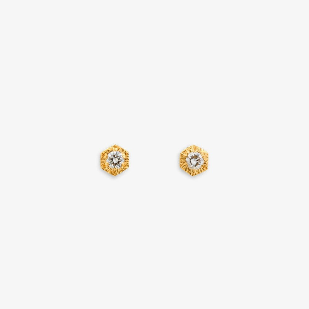 Baby White Diamond Hexagon Studs | Magpie Jewellery