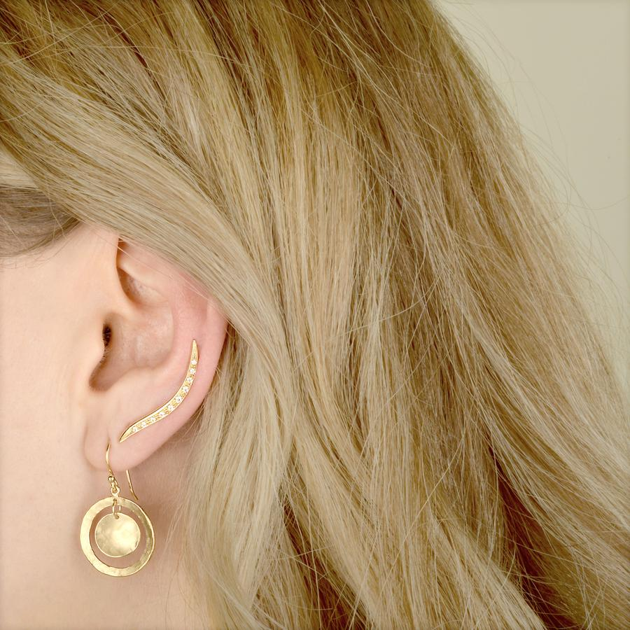 Open Hammered Double Disc Earrings | Magpie Jewellery