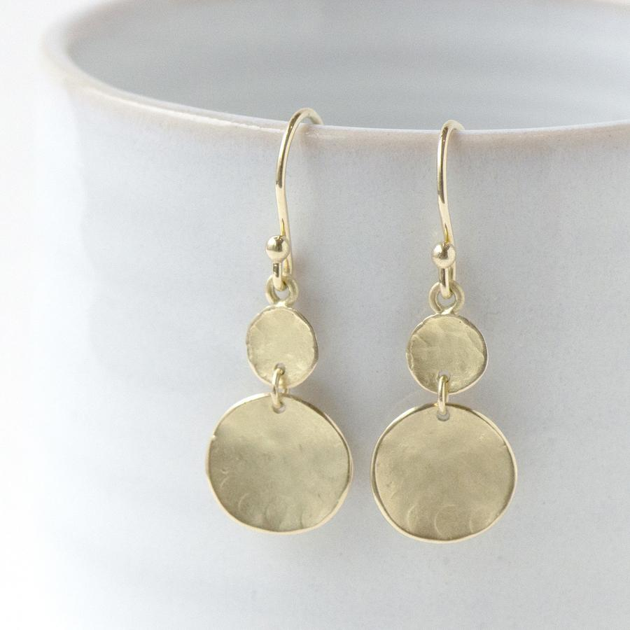 Double Hammered Disc Earrings W Gold | Magpie Jewellery