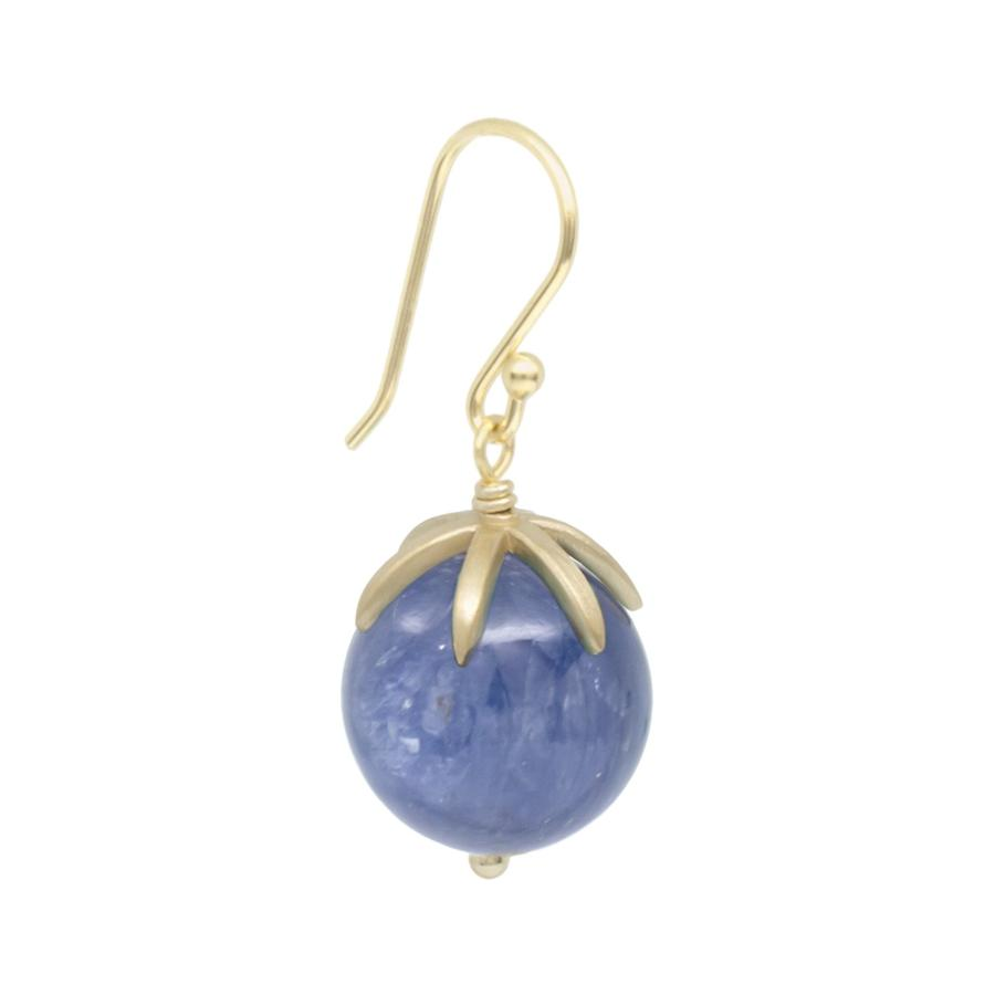 Cage Cap Gemstone Ball Earrings - Kyanite