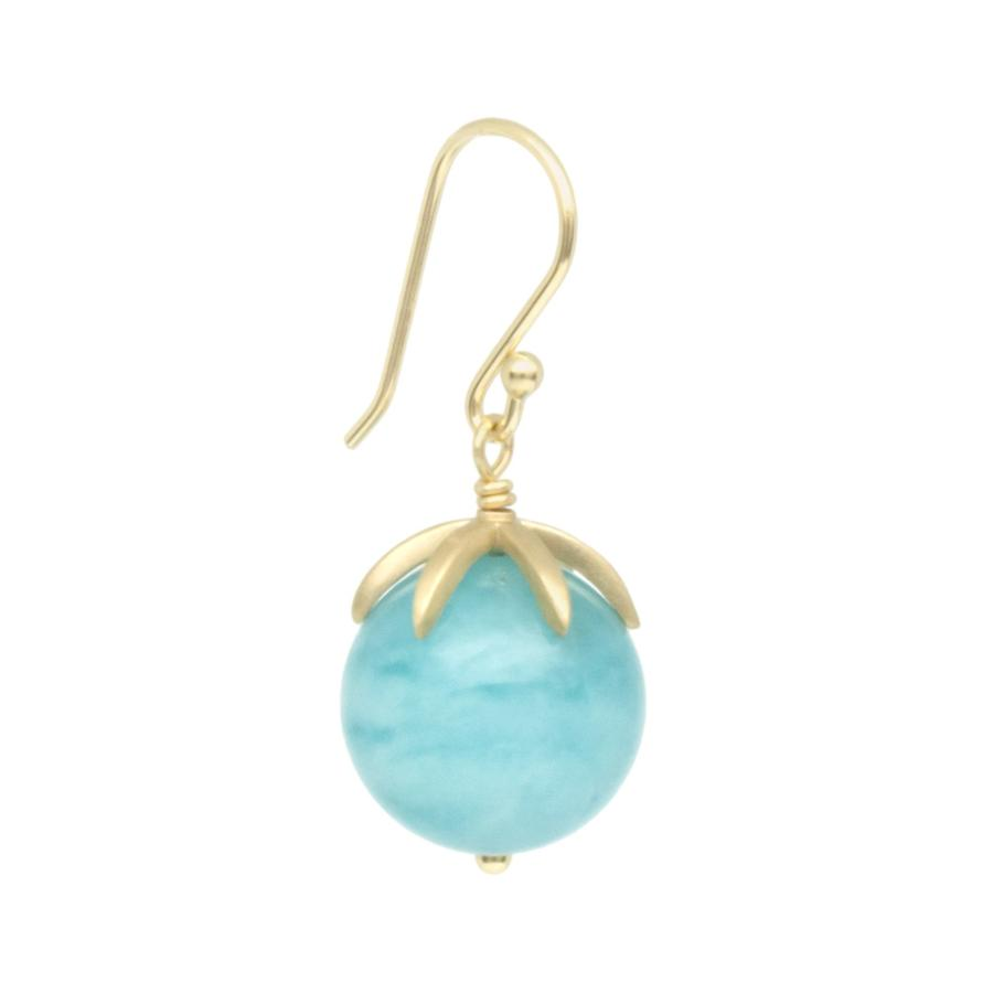 Cage Cap Gemstone Ball Earrings - Amazonite