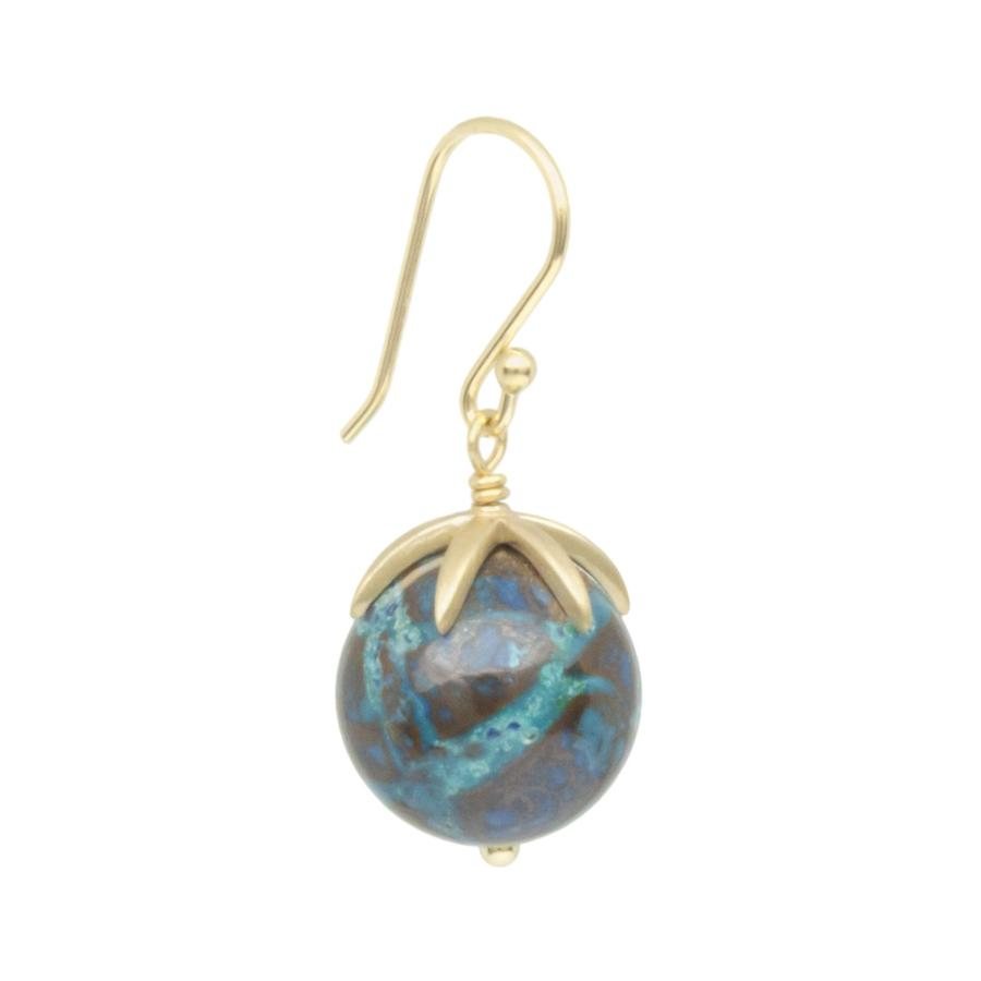 Cage Cap Gemstone Ball Earrings - Chrysocolla