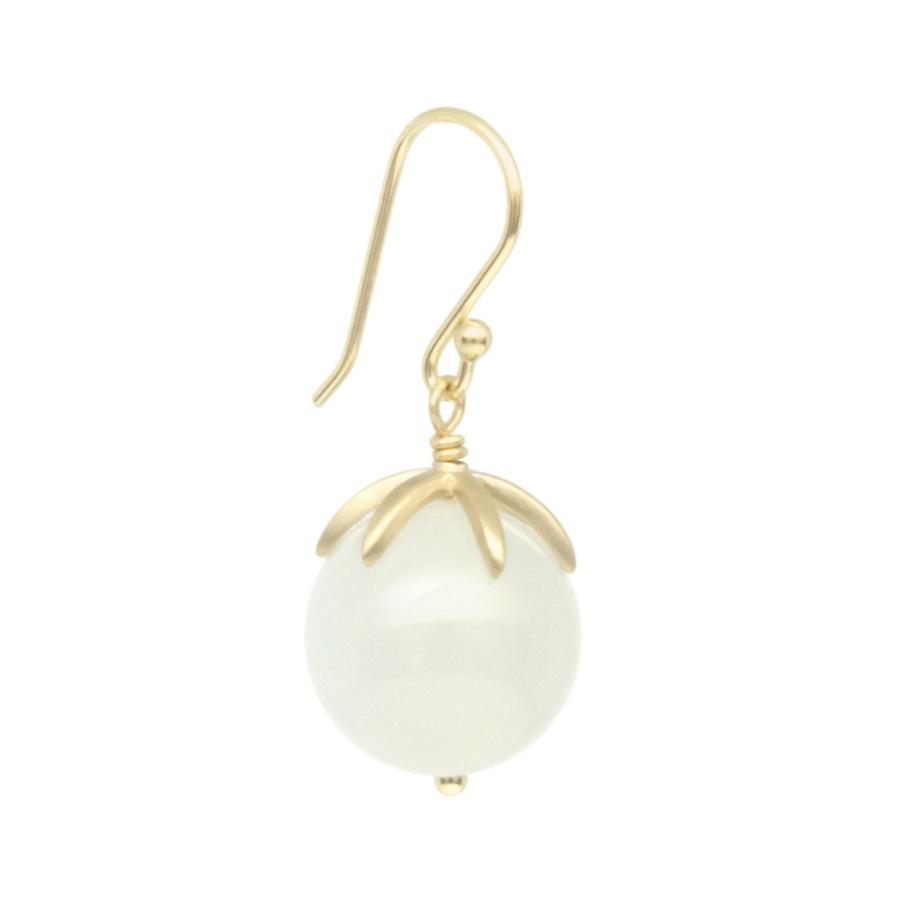 Cage Cap Gemstone Ball Earrings - Moonstone