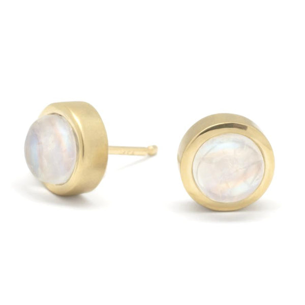 Gemstone Cup Stud Earrings - Moonstone YG