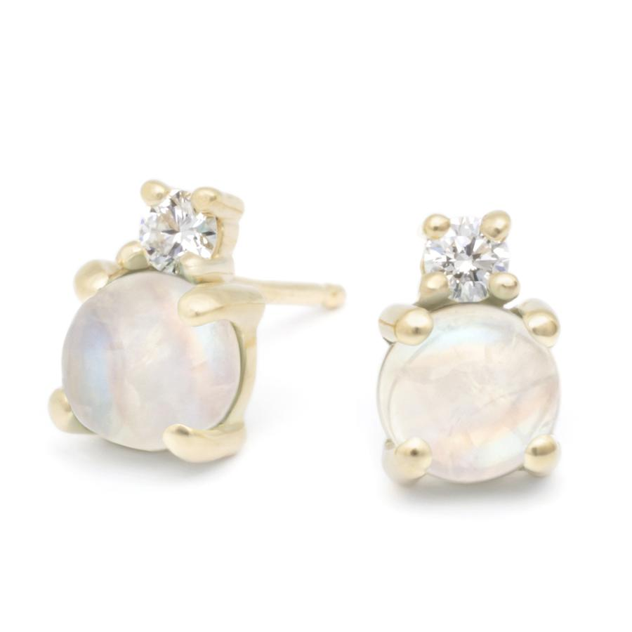 Diamond Duo Earrings - Moonstone