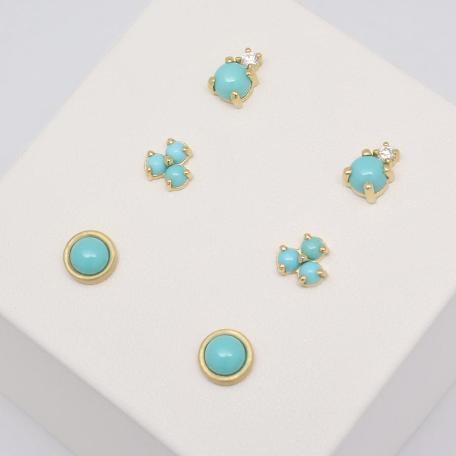 Diamond Duo Earrings - Turquoise