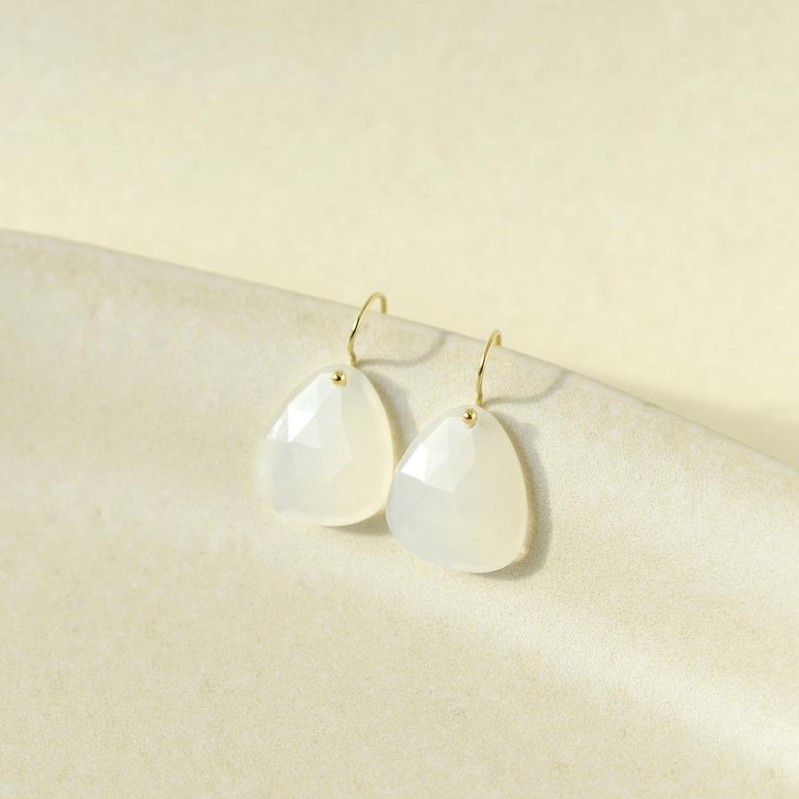 Trillium Drop Earrings - Moonstone YG