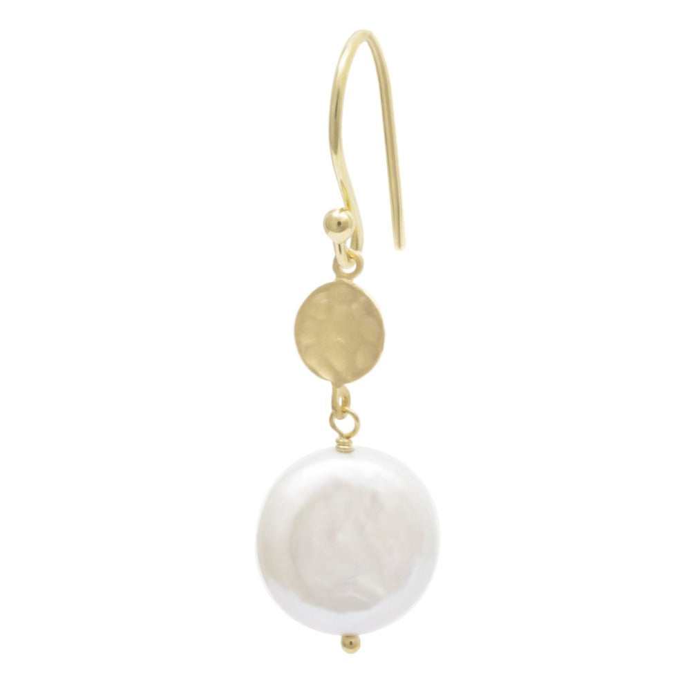 Hammered Disc Earring with Coin Pearl