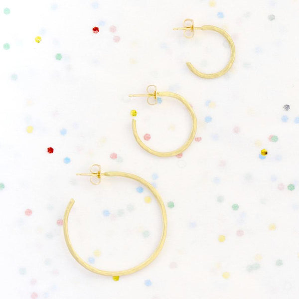 Hammered Open Hoop Earrings | Magpie Jewellery