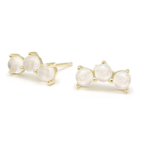 Gemstone Trio Climber Earrings - Moonstone