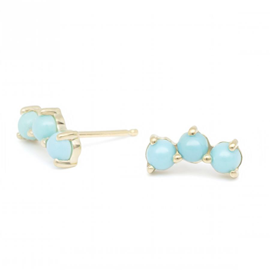 Gemstone Trio Climber Earrings - Turquoise