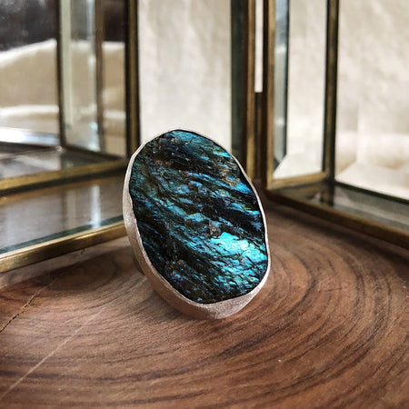 Large Oval Organic Labradorite Statement Ring