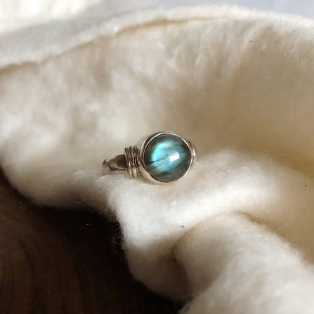 Simple Labradorite Ring with Shoulder Detail