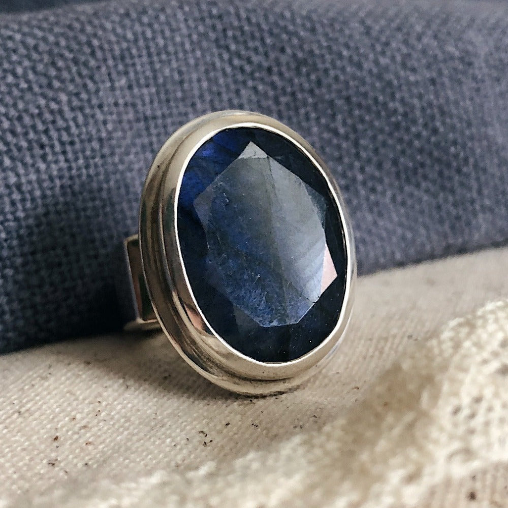 Oval Faceted Labradorite Statement Ring