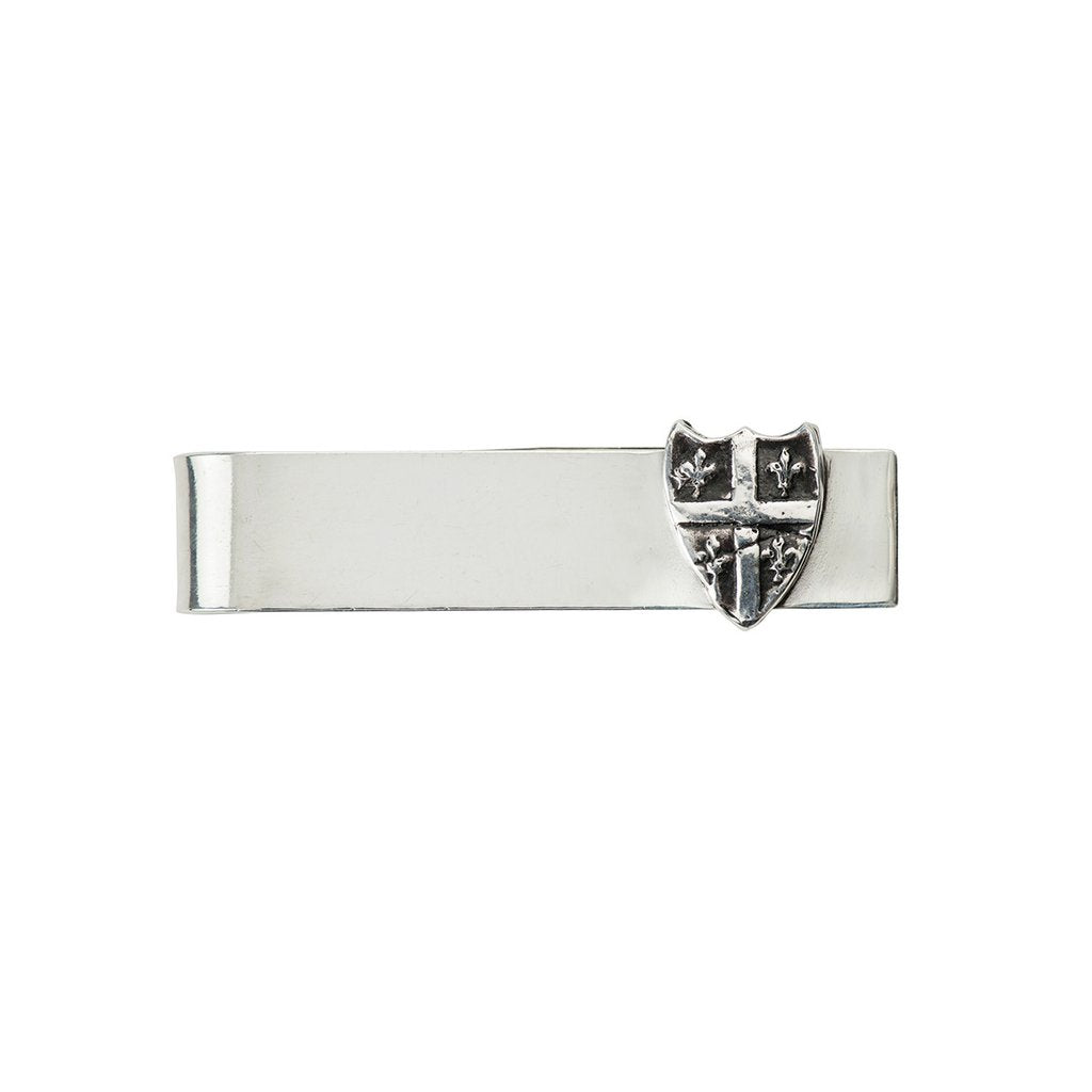 Fleur de Lys Shield Tie Bar Silver | Magpie Jewellery