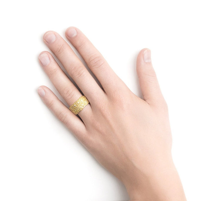 Wide Pock Diamond & Gold Band