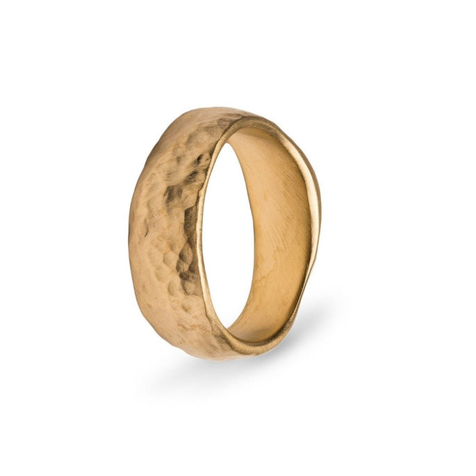 Wide Hammer Gold Band