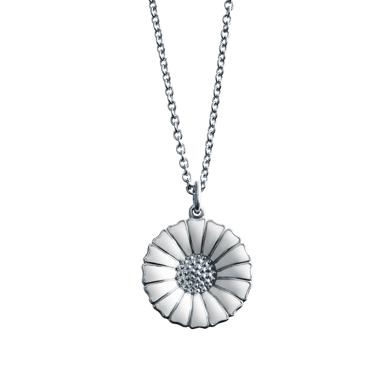 White Enamel Daisy Necklace - Large