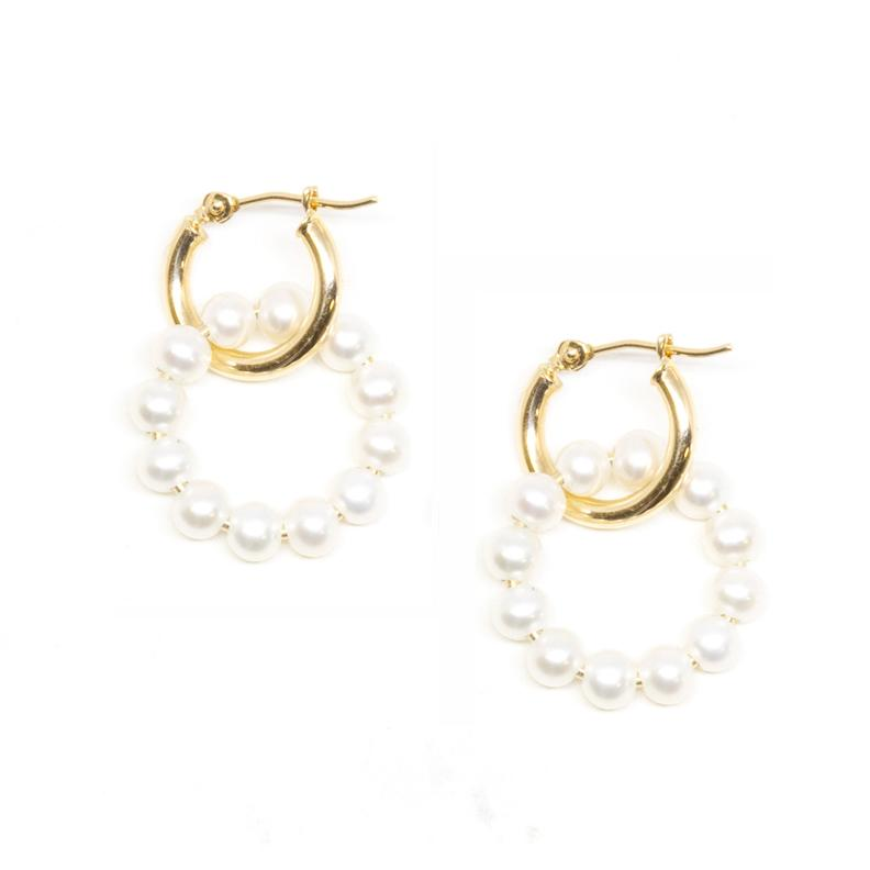 Mini Gold Hoop Pearl Circle Dangle Earrings | Magpie Jewellery
