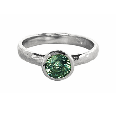 Green Sapphire Organic Solitaire