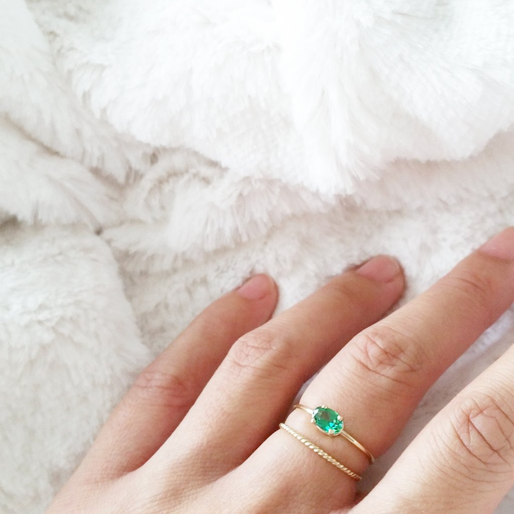 Oval Green Topaz Ring