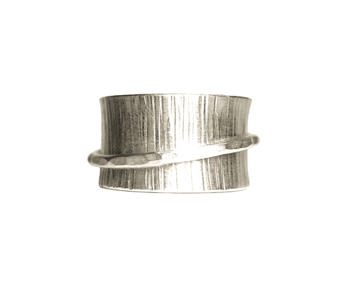 Wide Textured Band with Hammered Spinner