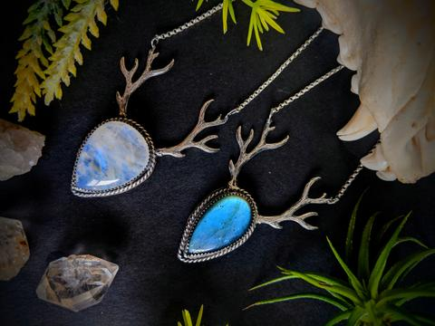Deer Antler Labradorite Necklace