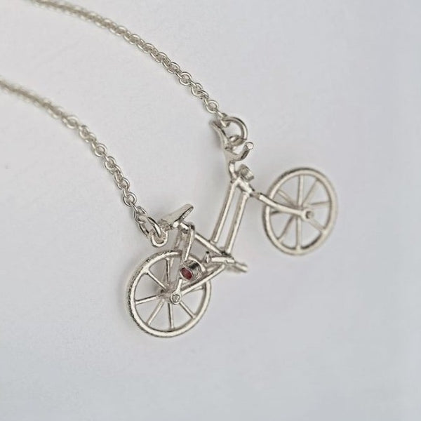 Vintage Bicycle Necklace with Gemstone Lights