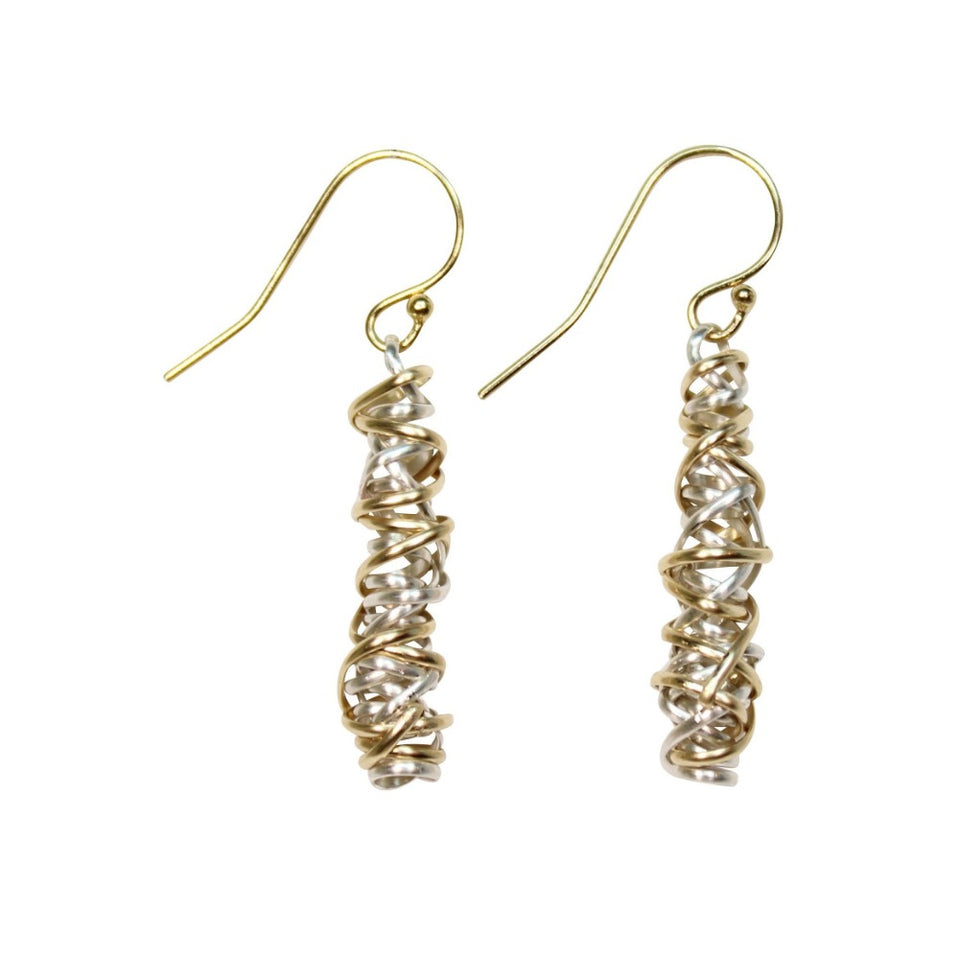 Twist Earring - Small | Magpie Jewellery | Mixed Metals on Yellow Gold Hooks