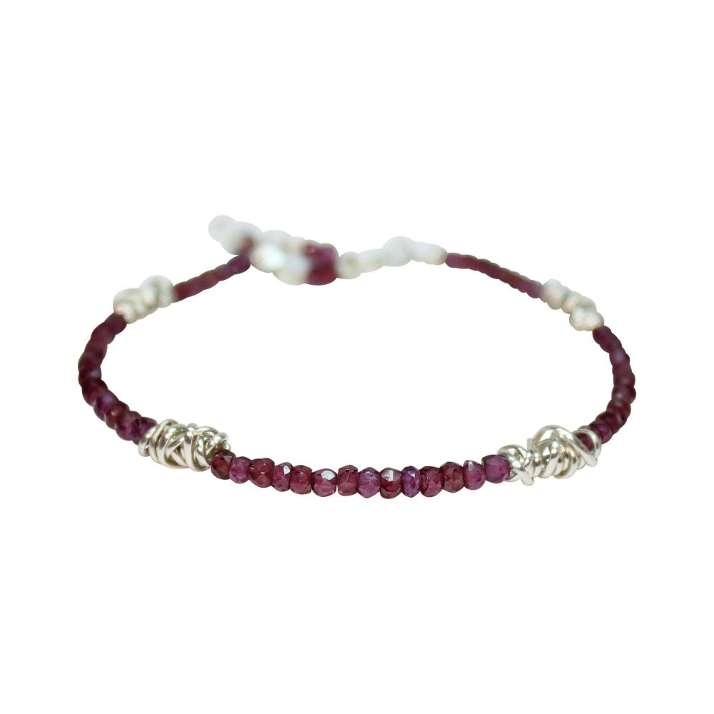Silver Twist Stacking Bracelet | Magpie Jewellery | Garnet