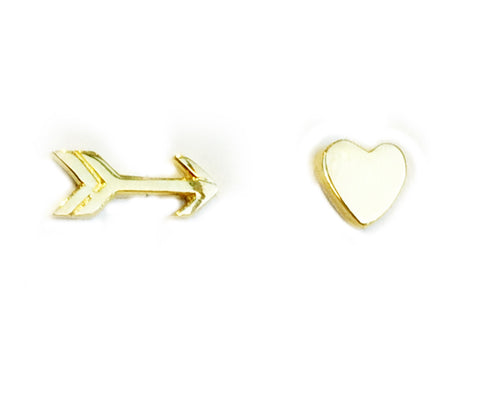 Gold Heart & Arrow Studs