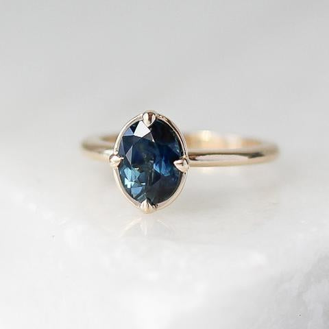 1.30ct Claw Set Oval Faceted Blue Spinel