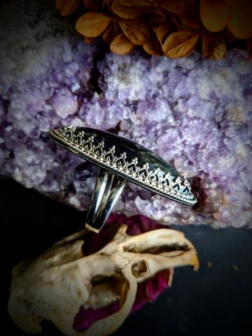 Ornate Oval Statement Ring with Locally Mined Gemstone