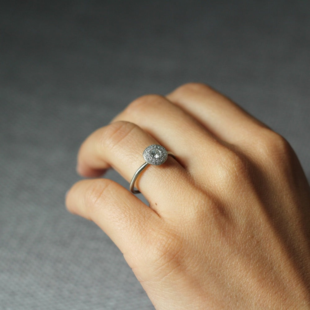 14k White Gold Jupiter Halo Solitaire| Magpie Jewellery