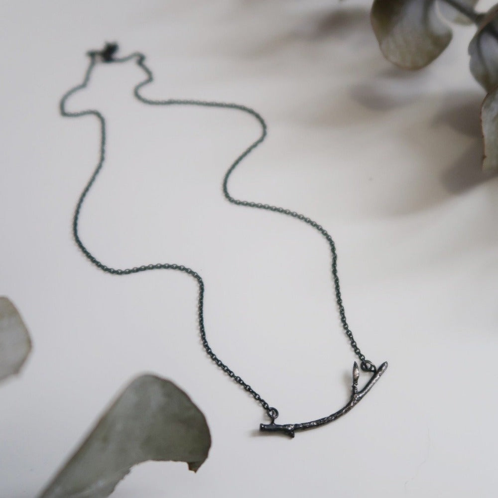 Oxidized Branch Bar Necklace